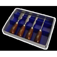Набор коротких стамесок с деревянной ручкой в картонной коробке 4 шт. KIRSCHEN 1156 SB (на заказ)