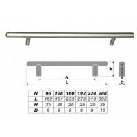 Ручка-рейлинг R0150/288 мм (20) RR001SN.4/288