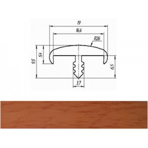Профиль T 16-1 мм гибкий декор вишня красная