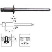 Заклепка вытяжная комбинированная 3,2 х 18 мм оцинкованная сталь/алюминий