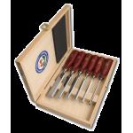 Набор стамесок с пластиковыми плоскими ручками в деревянной кор., 6 шт. KIRSCHEN 1103 HK (на заказ)