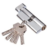 Сердцевина замка латунь, корп. AL 80 мм, 40+40, 5 проф.кл, ключ/завертка, хром 610-029