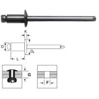 Заклепка вытяжная комбинированная 4,0 х 12 мм, оцинкованная сталь/алюминий