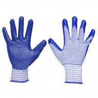 Перчатки нейлоновые полосатые синие Нитриловый облив