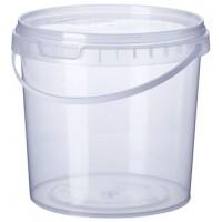 Ведро пластиковое с крышкой прозрачное 1,0 л
